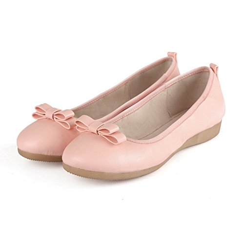 VogueZone009 Women's Low Heels Soft Material Solid Pull On Round Closed Toe Pumps-Shoes Pink wd9nMUqG