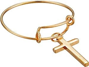 Alex and Ani Women's Precious Expandable Wire Ring Gold Cross One Size