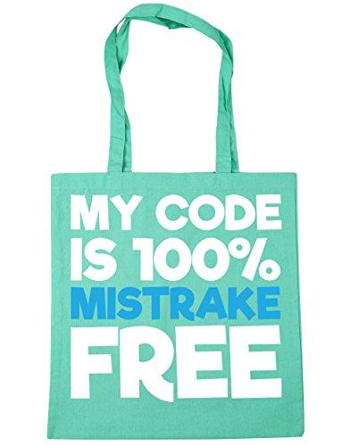 Hippowarehouse Il Mio Codice È 100% Mistrake Shopping Bag Borsa Da Spiaggia Fitness 42cm X38cm, 10 Litri - Verde Menta, Taglia Unica