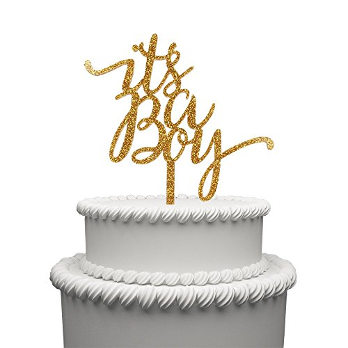 Its A Boy Cake Topper Cake Topper Gold Acrylic Baby Shower 12 Month One year Birthday Party Decoration (Banner Flag Yards)