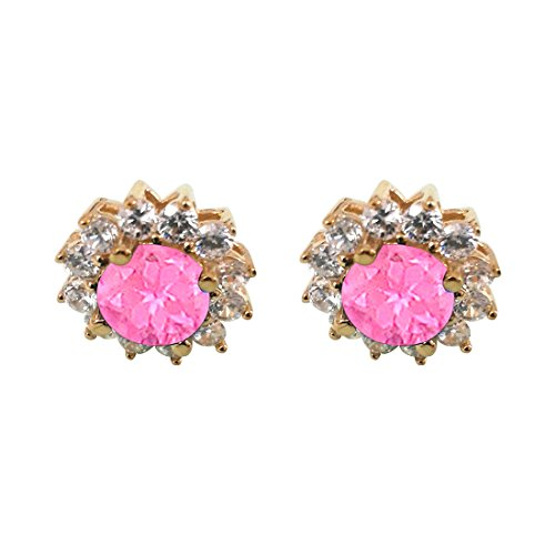 Floral Pink Sapphire Earrings - CZ and Pink Sapphire Floral Stud Earrings 5 CT TGW