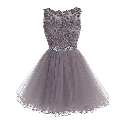 Drasawee Short Tulle Evening Cocktail Ball Gowns Prom Dresses for Teen Girls Grey US14 Teen Girls Grey Dress
