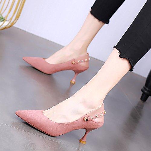 Sexy Zapatos de En Tacones Palabra Hebilla Zapatillas Puntiagudos Una KPHY Wild Pink Tacones Moda De Los Dos Zapatos Zapatos Verano De Mujer Delgados Pares S1wn7WA