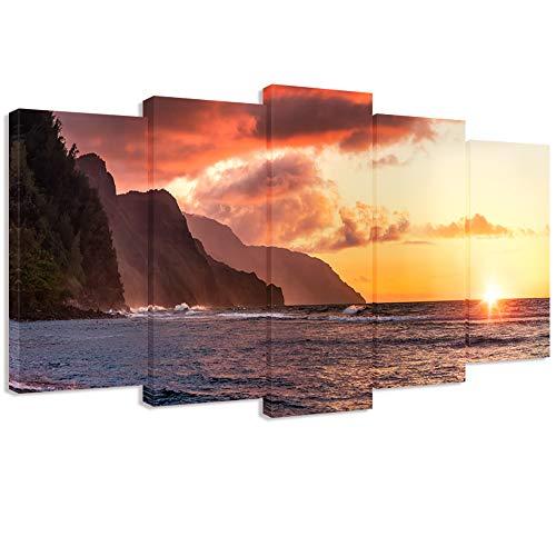 Visual Art Decor Large 5 Panel Tropical Sea Napali Coast Sunset Kauai Hawaii Scenery Canvas Wall Art Framed Picture Prints Living Room Home Office Decoration Coastal Syle