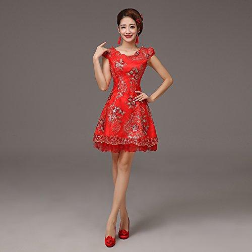 The rouge XXXL JKJHAH Rouge Robes De Mariée Robes Cheongsam Jupes Cheongsam en Dentelle Vintage