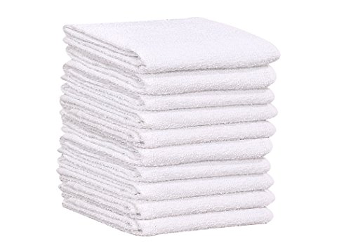 GOLD TEXTILES 120 PC New 100% Cotton White Restaurant Bar Mops Kitchen Towels 28oz (10 Dozen) (120, White)