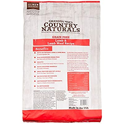 Grandma Mae's Country Naturals Grain-Free Lamb and Lamb Meal Recipe, 14 Pounds, Dry Dog Food Made in The USA