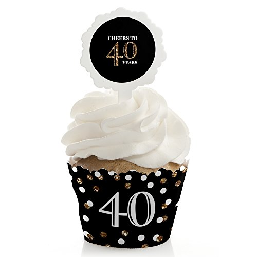 Adult 40th Birthday - Gold - Cupcake Wrapper & Pick Birthday Party Kit - Set of 24