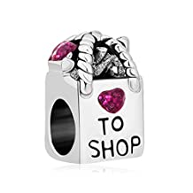 Sterling Silver Shopping Bag Purple Birthstone Crystal Heart Charms Beads Fit Pandora Jewelry Bracelet Gift