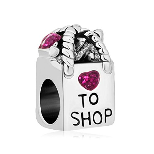 QueenCharms Pink Girls Charm Women Beads For Bracelets