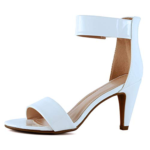 White Patent Ankle Straps - Guilty Shoes - Elysa-2 White Patent, 7.5