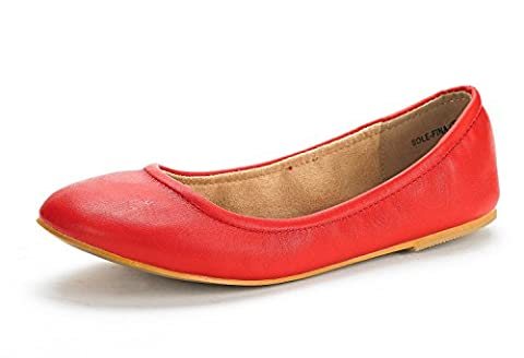 DREAM PAIRS SOLE-FINA Women's Casual Solid Plain Ballet Comfort Soft Slip On Flats Shoes New RED SIZE 5