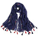 Women's Lightweight National Style Embroider Fashion Scarf Soft Cotton Shawls Wraps Long Scarves With Tassel for Winter Wedding Evening Navy Blue