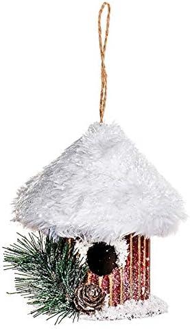 EUROCINSA Ref.28509 Casita pájaro Colgante de cartón Oro con tejado nevado 11Øx13cm. 6uds, Rojo/Blanco, Talla única