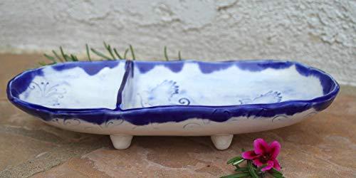 Royal Blue and White Bird Dip dish, handmade ceramic dinnerware