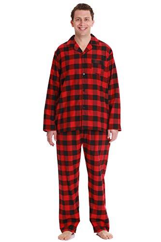 #followme Plaid Pajama Set for Men Long Sleeve Long Pant Sleepwear and Loungewear Pjs