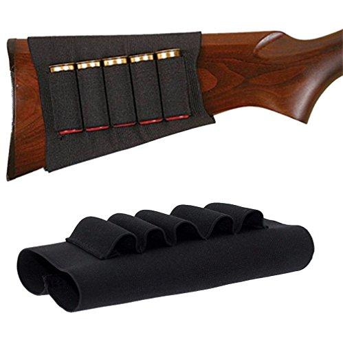(Jiyi Black Shotgun Rifle Butt Stock 12/20 GA Shell Cartridge Holder 5 Shells/Shotgun Shell Holder)