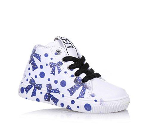 BE KOOL - Sneaker à lacets blanche Ribbon Pois Baby en cuir, inspirée par le monde de l'art urbain, avec fermeture éclair latérale, Fille, Filles