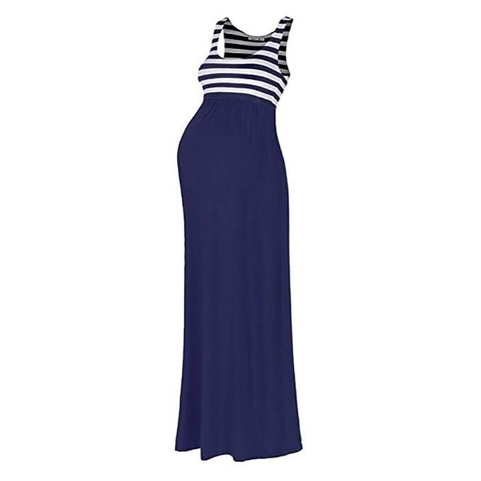 8e75b8822473e Fashionme Maternity Striped Sleeveless Ruched Maxi Tank Dress at ...