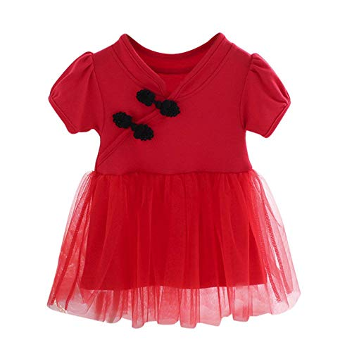 LIFLWO Girls Chinese Lace Tutu Dress Short Princess Dressws for 0-24 Months Baby Red ()