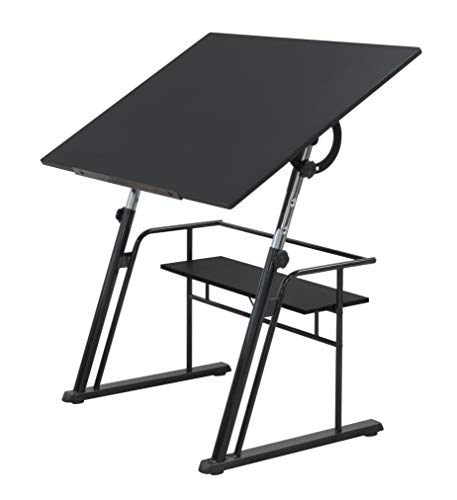 STUDIO DESIGNS Zenith Craft Desk Drafting Table, Top Adjustable Drafting Table Craft Table Drawing Desk Hobby Table Writing Desk Studio Desk, Black, 13340 (Adjustable Height Drafting Table)