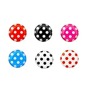 6-in-1 Pack Polka Dot Pattern Soft Home Button Stickers For Apple iPhone / iPod / iPad - Black, White, Pink, Red, Blue