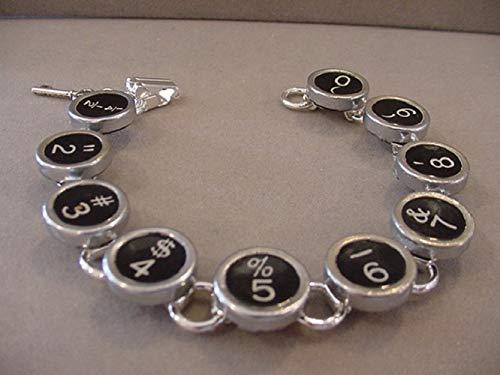 Keys Recycled Typewriter - Typewriter Key Bracelet Black Numbers Typewriter key jewelry recycled jewelry