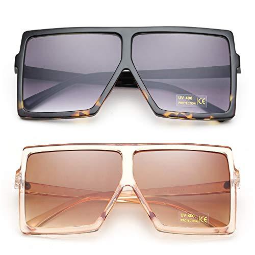 9951d90b66 Amazon.com  GRFISIA Square Oversized Sunglasses for Women Men Flat Top  Fashion Shades (2 PCS- leopard- orange)  Clothing