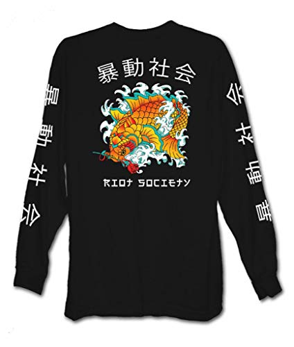 Riot Society Koi Fish Rose Mens Long Sleeve T-Shirt - XXL