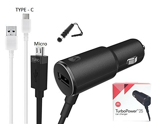 ((2 in 1) Motorola TurboPower 25W - Dual Port Rapid Charge Car Charger with Micro & TYPE C USB & Mini Stylus (US Retail)