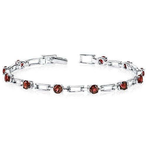 Garnet Bracelet Sterling Silver 3.50 Carats Chic Design