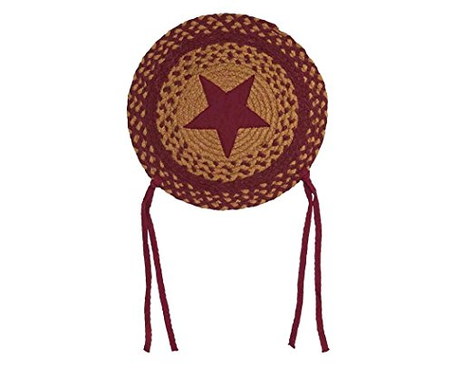 IHF Home Decor Star Wine Braided Area Rug | Chair Cover Pad Round | 100% Natural Jute Material Fiber Rugs 15