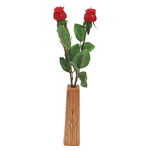 16th Wedding Anniversary gift 2-stem wax roses with vase