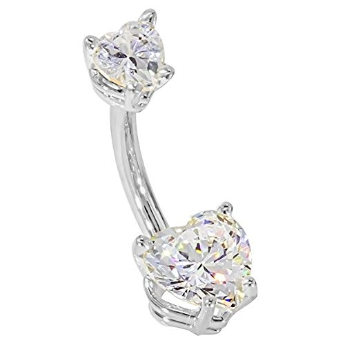 """14G 3/8"""" - Petite Hearts CZ 14K White Gold Belly Ring - (April)"""