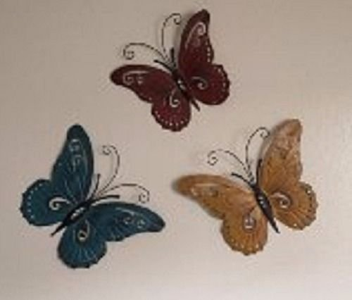 Trio Butterfly Art (Nature Inspired Metal Butterfly Wall Art Sculpture Trio 3 Pc Set In/Outdoor)