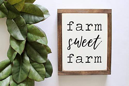 DoreenAbe Personalized Framed Wood Sign, Farm Sweet Farm Sign, Wood Sign, Framed Wall Art, Rustic Wood Signs, Hand Painted Wood Sign, Farmhouse Sign ()