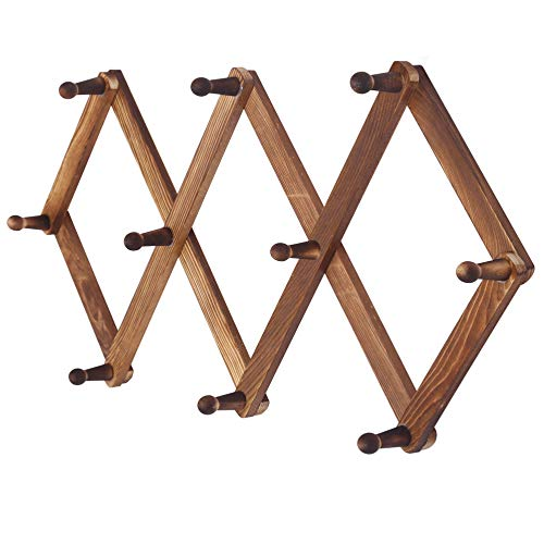 (Dseap Accordian Wall Hanger: Wooden Hat Racks for Baseball Caps, Mug Rack, Scarf Hanger, Coat Rack Wall Mounted, 10 Peg Hooks )