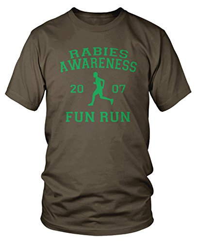 Amdesco Men's The Office Rabies Awareness Fun Run 2007 T-Shirt, Dark Chocolate 2XL -