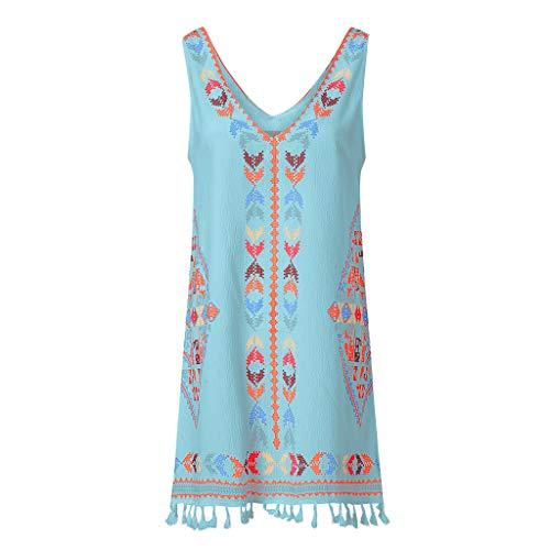 Women's Bohemian Skirt Fringed Beach Tassel V-Neck Dress Casual Print Sleeveless Beach Mini Dress (Blue,XL) ()