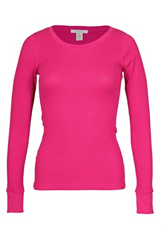Tee Heart Thermal - Bozzolo Women's RT1205 Waffle Thermal Crew Neck T Shirt Fuchsia Small