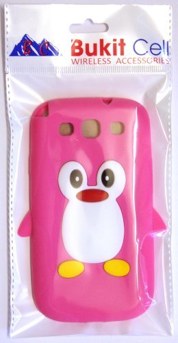 Samsung Hot Pink Penguin Silicone Case Cover with Free Custom Screen Protector, WirelessGeeks247 Metallic Detachable Touch Screen Stylus Pen and Anti Dust Plug for Samsung Galaxy S3 i9300 by BUKIT CELL (Image #2)