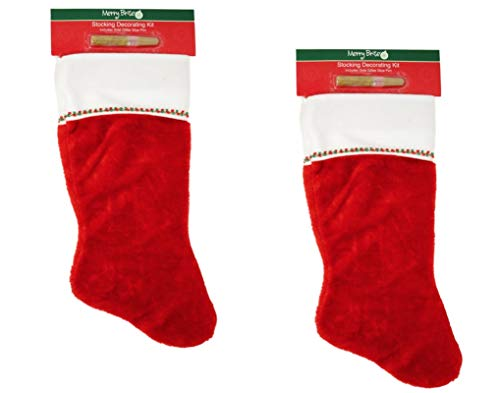 - Merry Brite Christmas Stockings with Glitter Pen, 2 Pack - Do It Yourself Kit with Gold Glitter