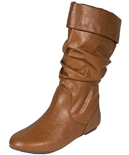 Soda Image Womens Comfortable Flat Mid Calf Boot Shoes,9 B(M) US,Cognac Pu