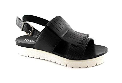 IGI & CO 78120 Negro mujer sandalias de cuero zapatos de la correa flecos finales Nero