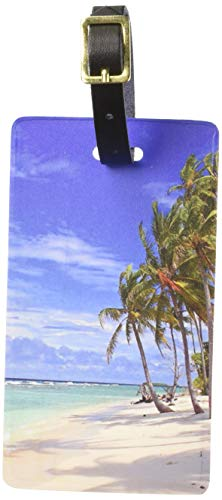Luggage Tag Beach - Graphics & More Tropical Beach-Island Sky Clouds Vacation Luggage Tags Suitcase Id, White
