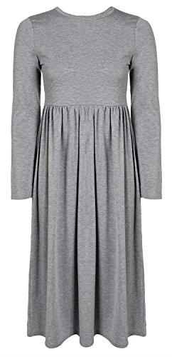 New Sleeve Length Click Ladies Flared Dress Grey Selfie Knee Full pg5qZq