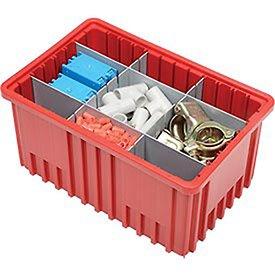 [해외]플라스틱 Dividable 그리드 컨테이너, 16-1 2 L x 10-7 8 x 8 H, 적색 - 8 로트/Plastic Dividable Grid Container, 16-1 2 L x 10-7 8 W x 8 H, Red - Lot of 8