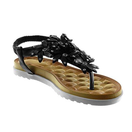 Angkorly Zapatillas Moda Sandalias Chanclas Correa Slip-On Suela de Zapatillas Mujer Flores Strass Tachonado Tacón Plano 2.5 cm Negro