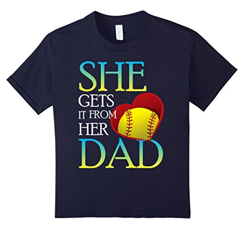 Kids She Gets It From Her Dad Shirt Softball Dad T-Shirt  4 Navy (Sexy Softball Player)