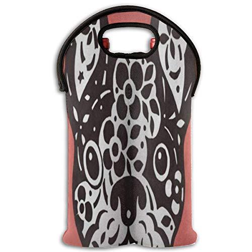Wine Bag French Bulldog Sugar Skull 2 Bottle Red Wine Tote Bag Cooler Water Travel Bag (Bulldogs Sugar Pourer)